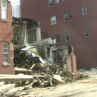 Catholic School Building in Chicago, mid-demolishing... the location for throwing rocks through the windows as Joseph mentions.