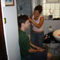 Superb makeup artist Maria Barrera applies makeup to Nick Lewis