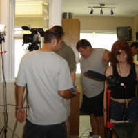 After much prep, Jason, RJ, Howie and Jessica have the scene nearly ready to shoot