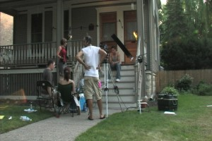 The front porch scene almost ready to go, for the independent movie PYRITE, filmed on location in Forest Park, IL